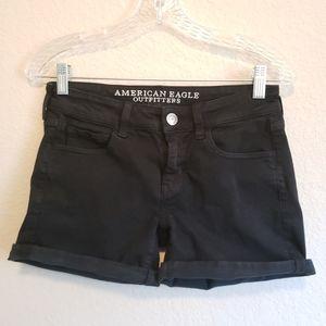 American Eagle Black Roll Hem Twill Midi Shorts